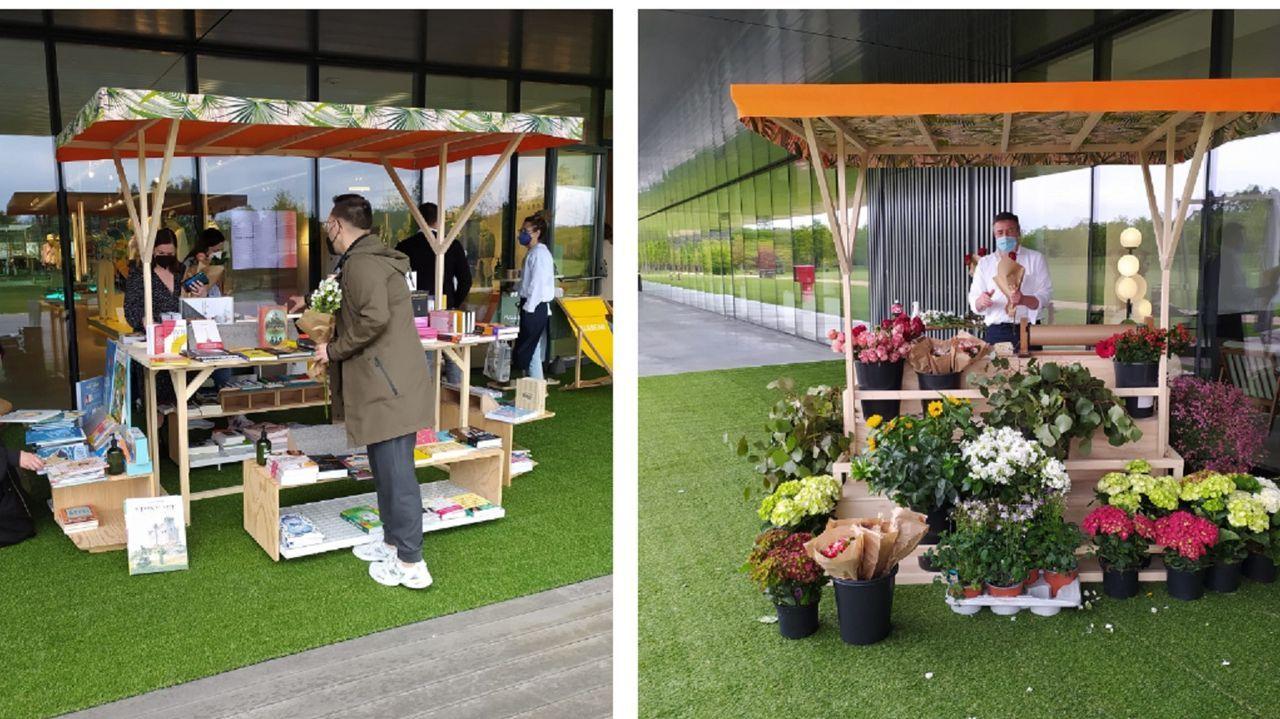 Los empleados de Pull & Bear celebraron el Día del LIbro con obras de Cantón 4 y flores de La tienda de Emma