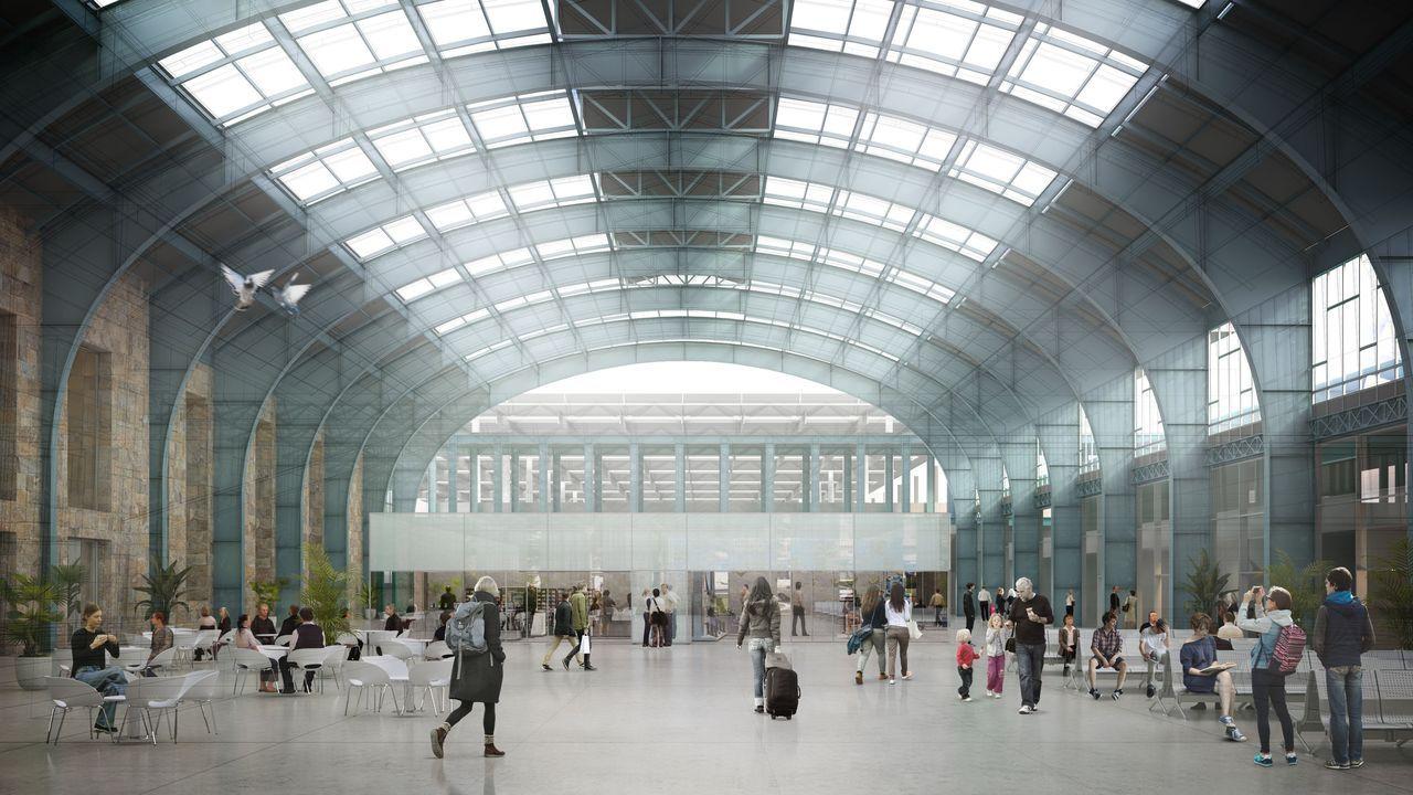 Recreación del interior de la estación de A Coruña