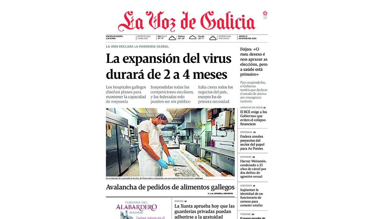 Primera de La Voz de Galicia del 12 de marzo del 2020