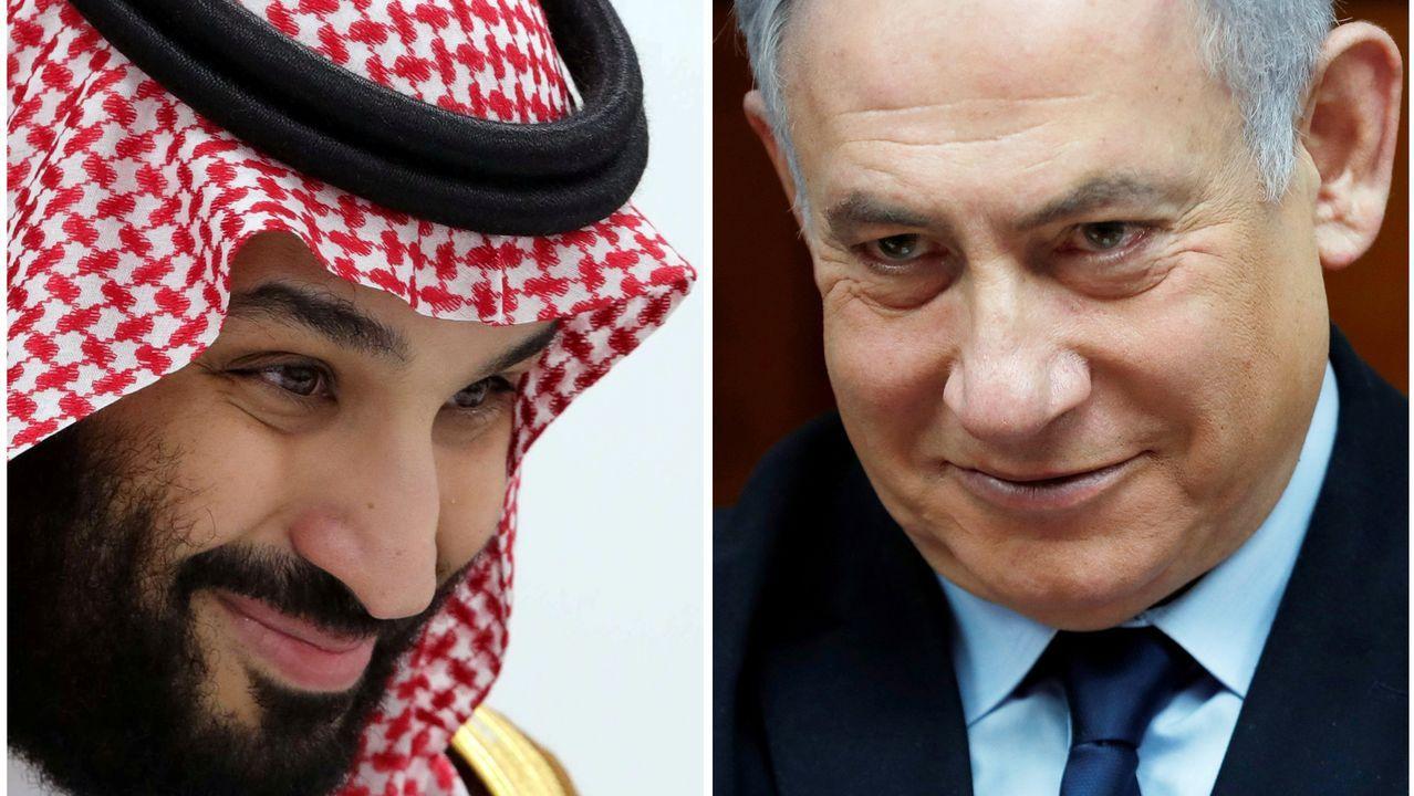 El príncipe heredero saudí, Mohamed bin Salman,  y el primer ministro de Israel, Benjamin Netanyahu