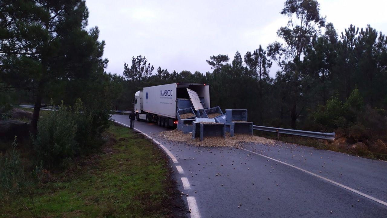 carne.Un camión esparció 12 toneladas de berberecho antes de llegar a una conservera en Carnota