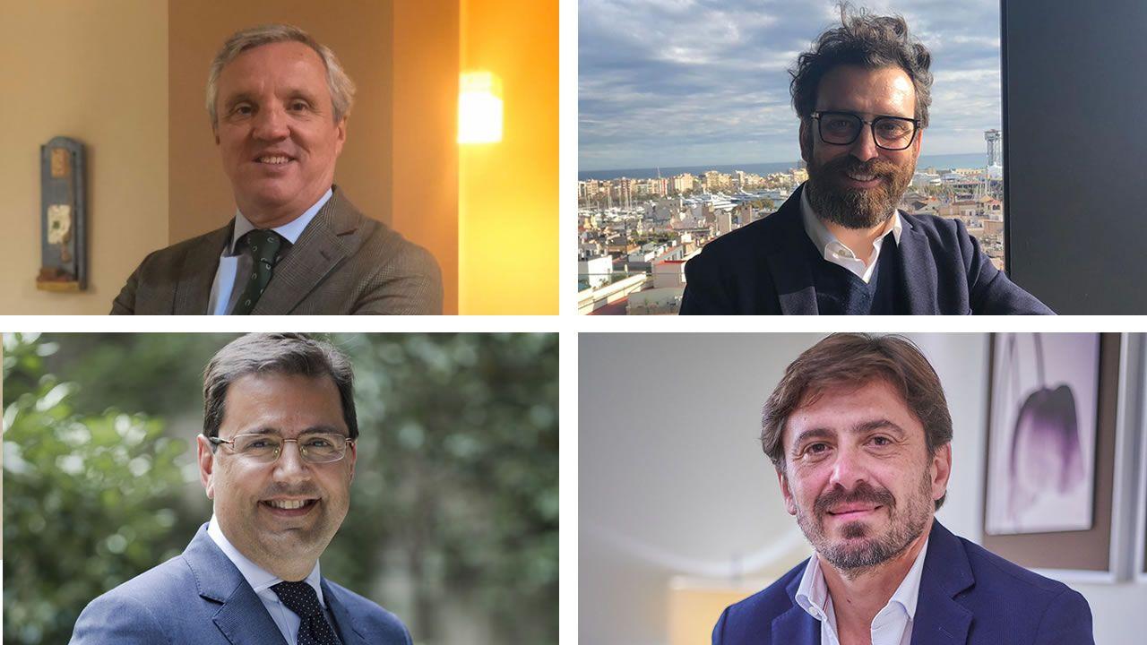De izquierda a derecha y de arriba a abajo: Carlos Garrido, presidente de agencias; Ferran Anguera, profesor de Turismo; Javier Gándara, presidente de las aerolíneas, y Jorge Marichal, presidente de los hoteles
