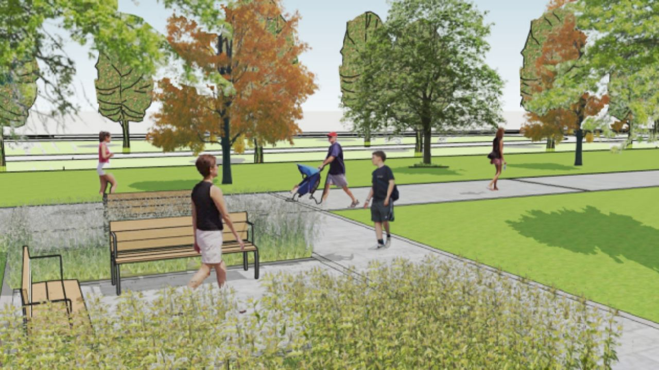 Infografía del nuevo espacio verde en el que se convertirá la avenida del Molinón de Gijón