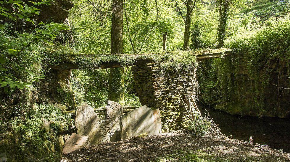 La llamada Cal da Leiriña es un canal aéreo construido para conducir el agua que regaba los prados de las márgenes del río Antigua