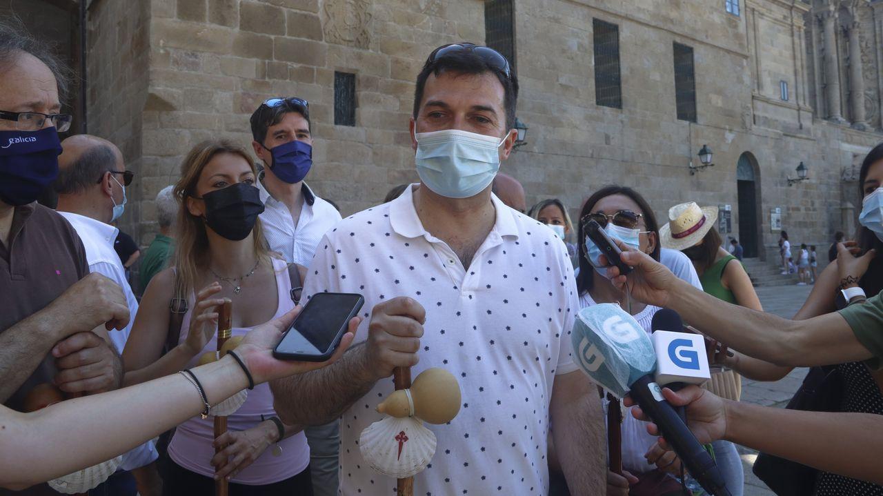 Casado y su familia visitan el Obradoiro y la Catedral de Santiago.El presidente del PP, Pablo Casado, el pasado 12 de julio en Toledo