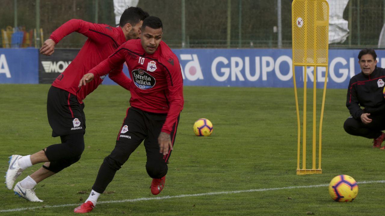 Nahuel en un entrenamiento con el Deportivo