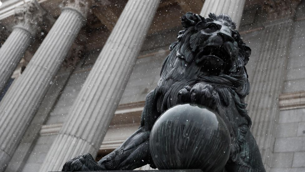 Los leones que custodian la entrada al Congreso se quedaron helados.