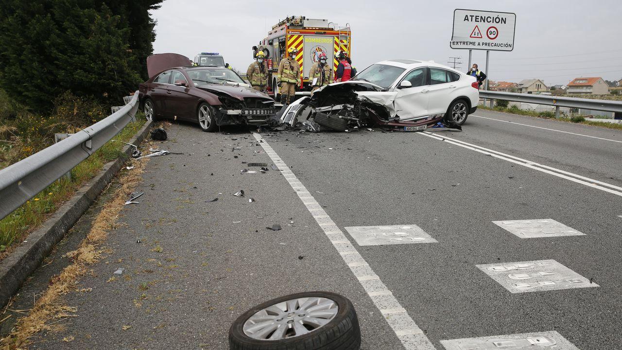 Imagen del accidente mortal del pasado marzo en Salceda. En lo que va del 2021 hubo en Galicia 58 accidentes con muertos o heridos y en 4 de ellos los conductores dieron positivo en alcohol