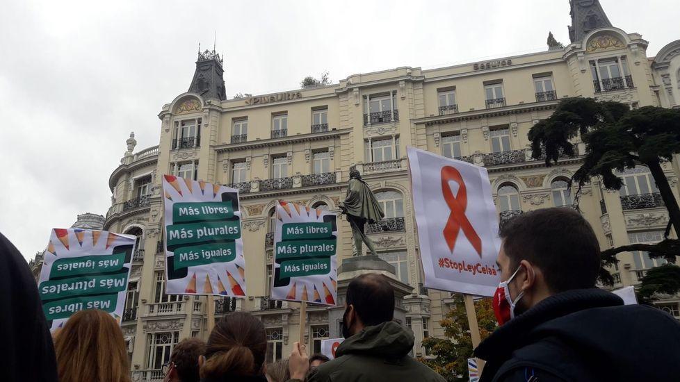 La plataforma Más Plurales se manifestó ayer ante el Cognreso para protestar contra la ley Celaá