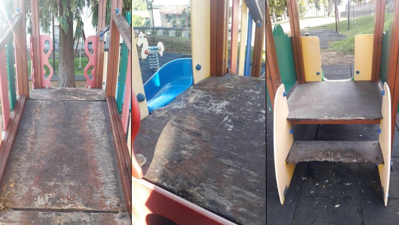 Deficiencias no parque infantil de Portomarín