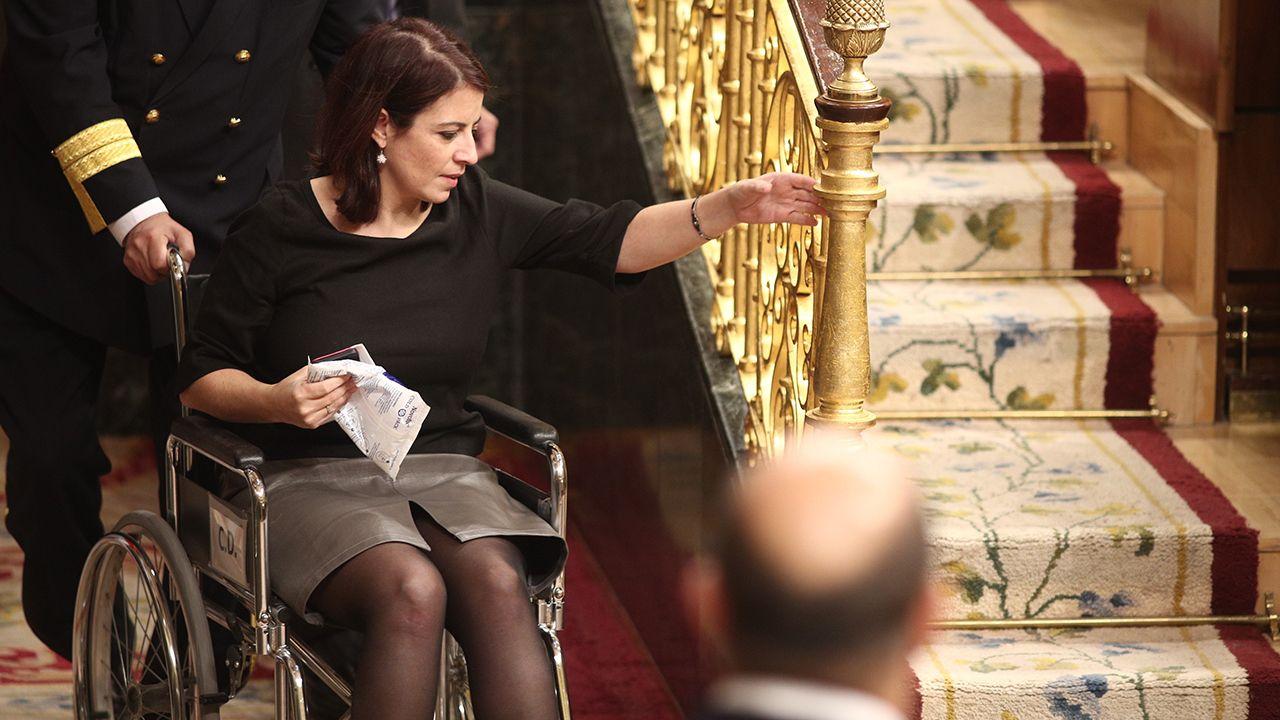 El Rey recibe en Zarzuela a las presidentas del Congreso y del Senado.Adriana Lastra, en silla de ruedas