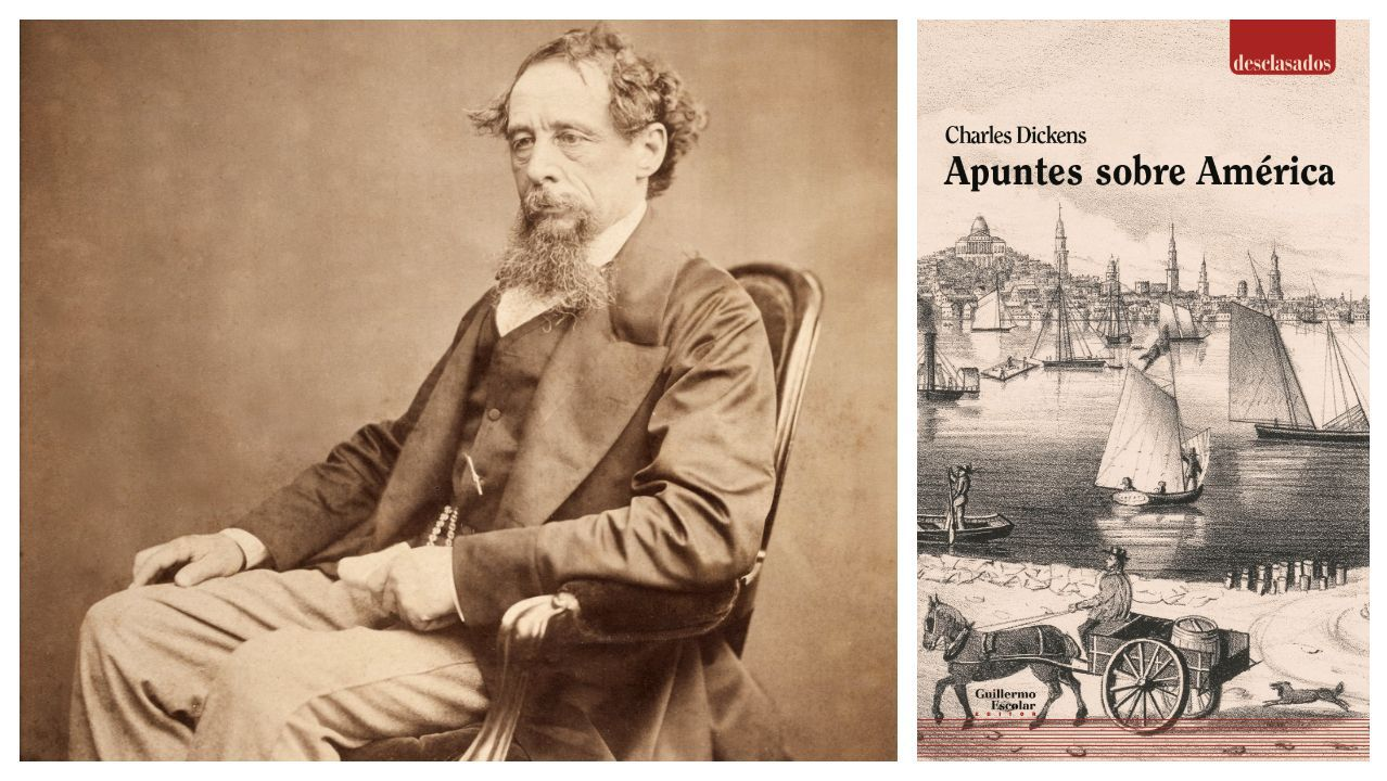 El escritor Charles Dickens, retratado en torno al año 1860. A la derecha, portada del libro de viajes editado por Guillermo Escolar