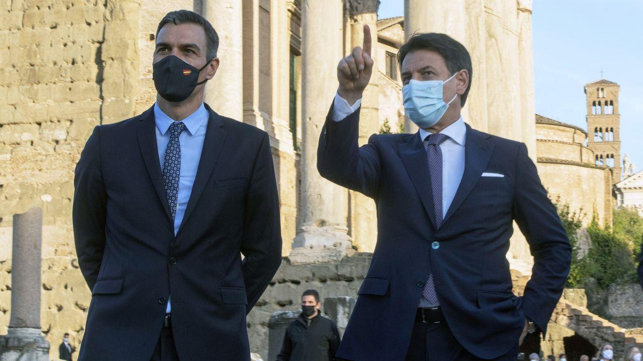 Pedro Sánchez, este martes, en Roma, donde participó con su homólogo italiano, Giuseppe Conte, en el foro entre ambos países