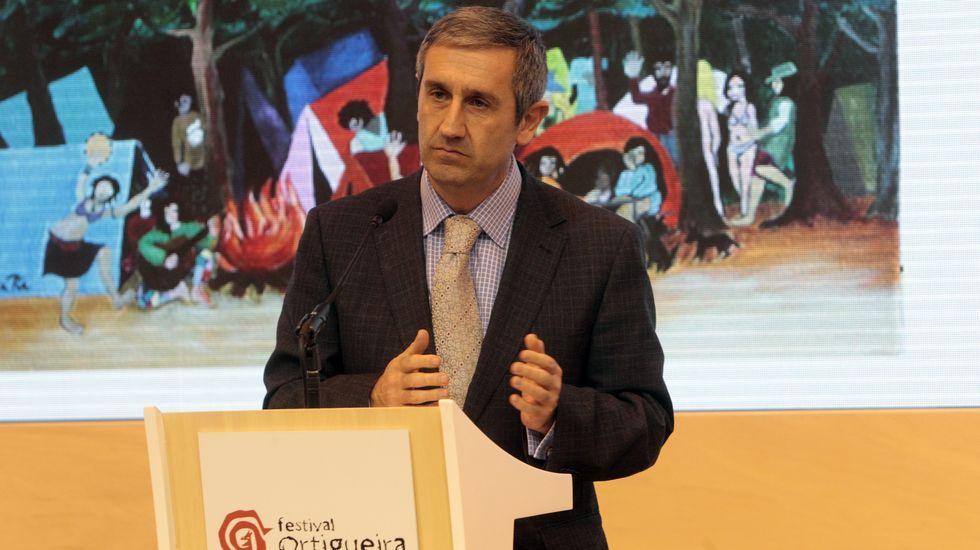 El alcalde de Ortigueira, Rafael Girón, durante la presentación del Festival en Fitur