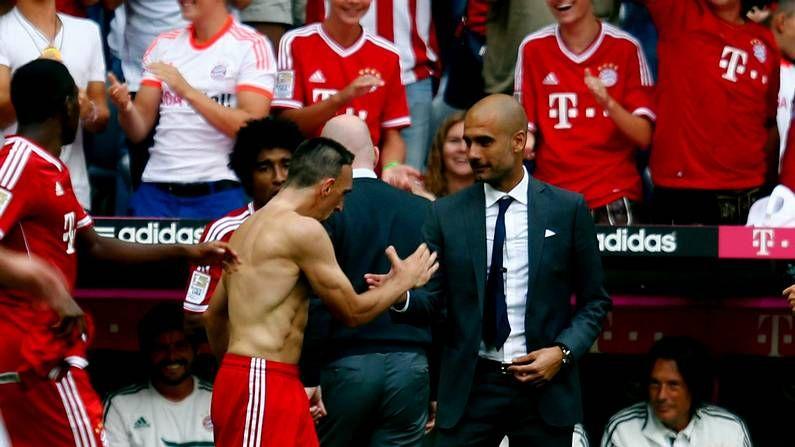 Ribery celebra su gol con Guardiola