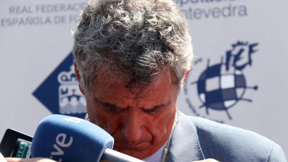 La cubierta de Riazor, desde arriba.Gorka Villar, hijo del presidente de la Federación Española de Fútbol, Ángel María Villar