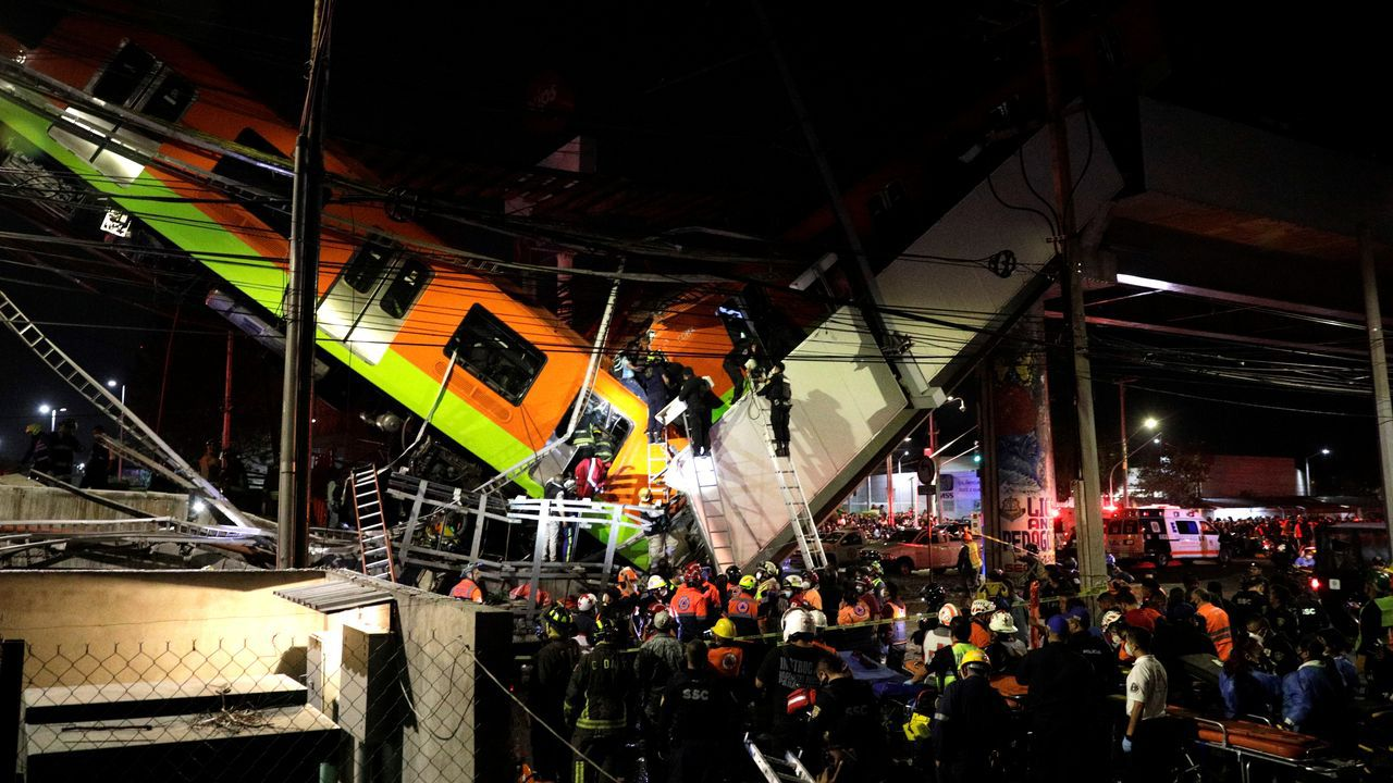 Derrumbe con víctimas en el metro de Ciudad de México