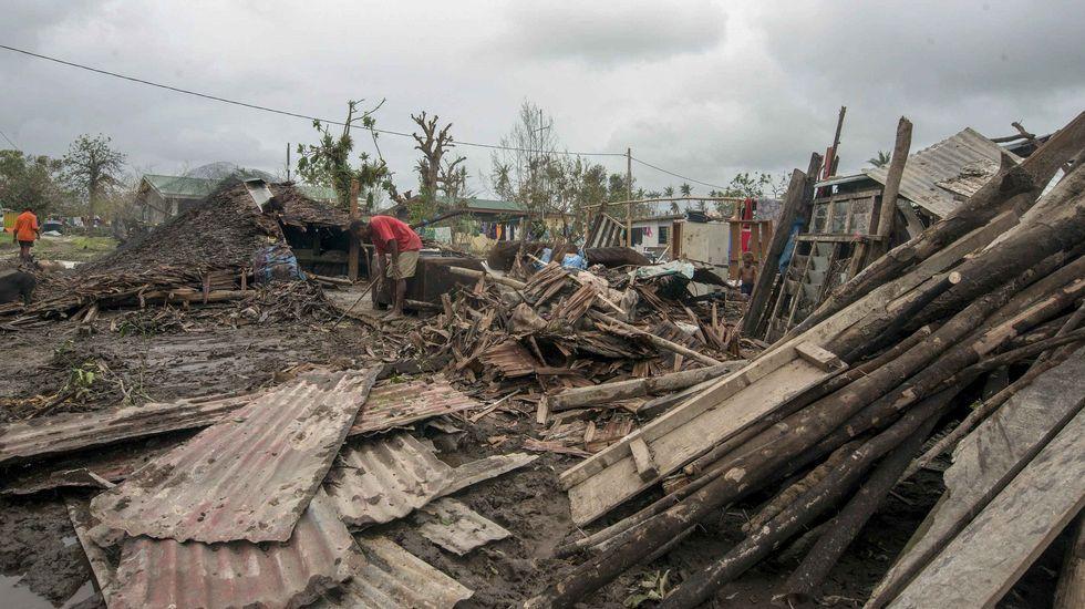 Viviendas arrasadas por el ciclón Pam.