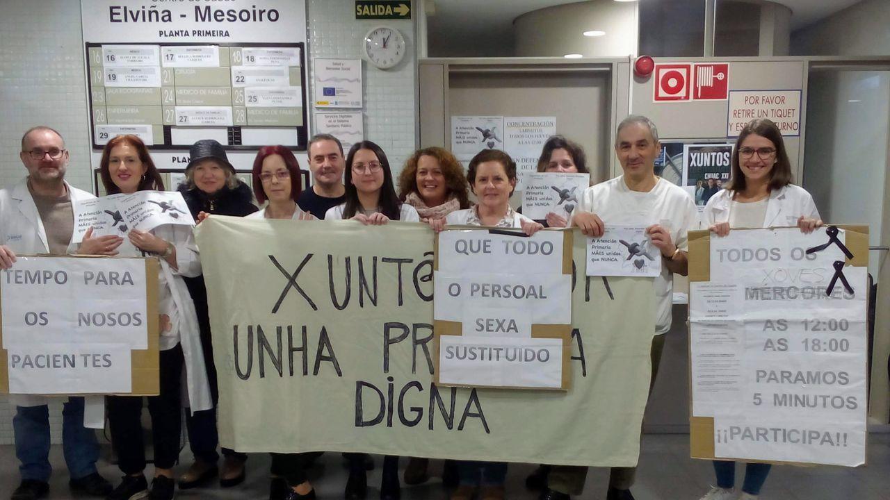 Protesta de Atención Primaria en el centro de salud de Elviña