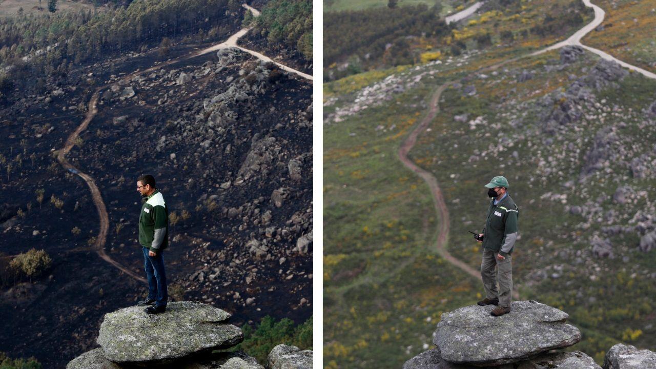 El espectacular paso delnegro al verde de los montes calcinados de Vigo.El túnel de la A-52 quedó cortado tras el incendio de un vehículo