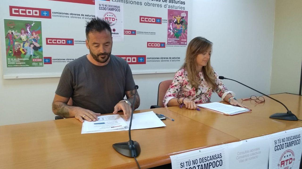 La responsable de Juventud de CCOO, Ana María Rodríguez, y el secretario de Acción Sindical, Gerardo Argüelles