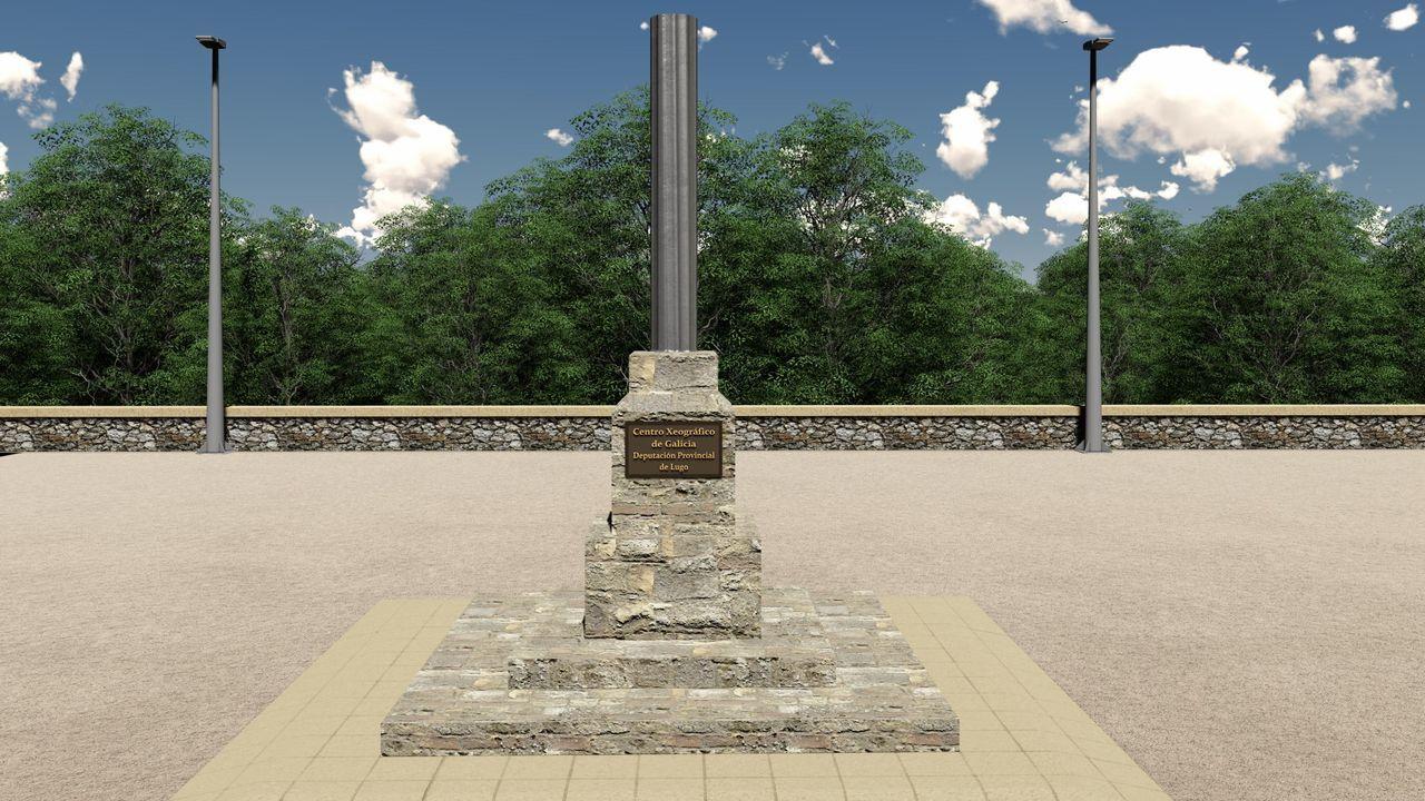 Parque Central de Galicia: monolito del centro geográfico de Galicia