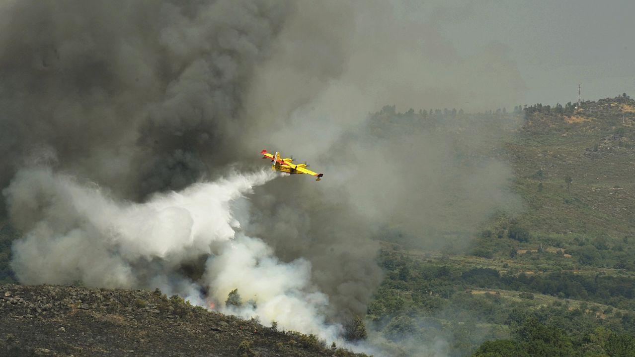 O Xurés, tras las llamas.Un hidroavión de la Unidad Militar de Emergencias arroja agua sobre el incendio declarado el pasado mes de julio en el municipio ourensano de Cualedro