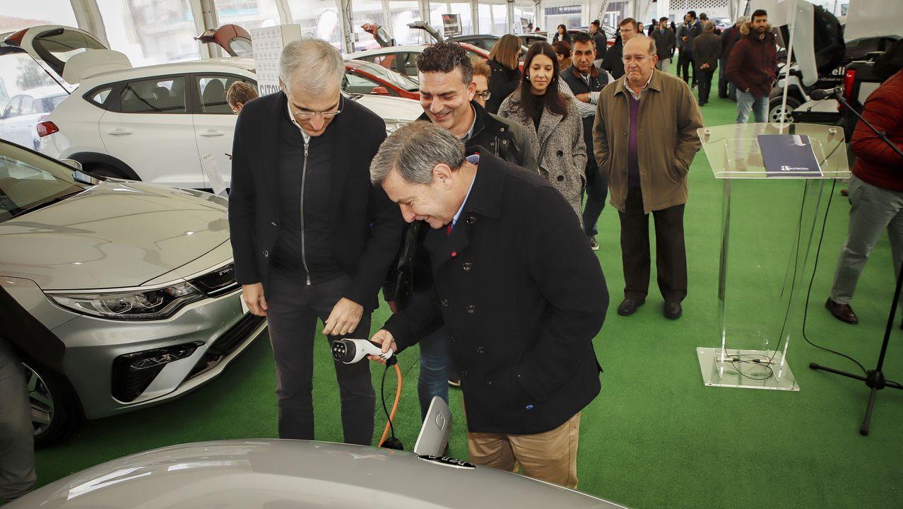 El conselleiro de Industria visita la feria de vehículos híbridos y eléctricos de Ribeira