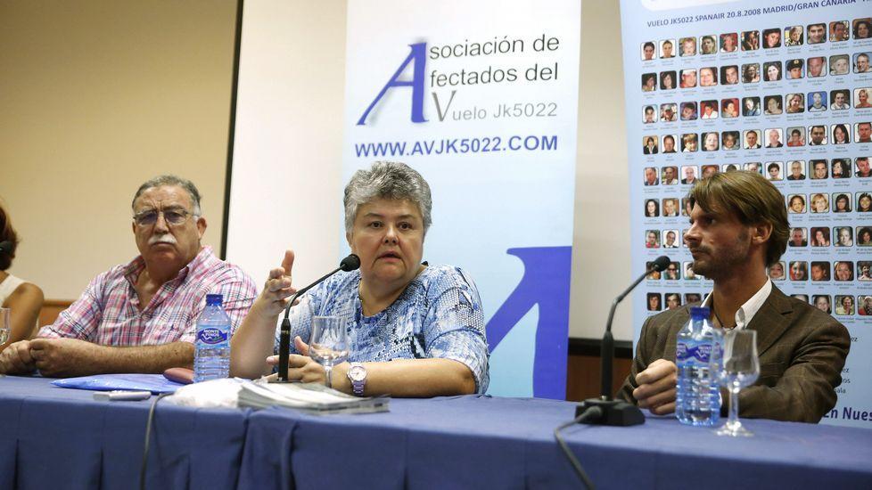 La presidente de la Asociación de Afectados del Vuelo JK5022, Pilar Vera, durante la rueda de prensa posterior al homenaje en Madrid