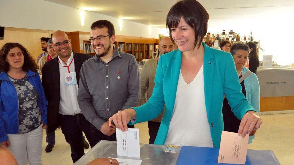 La portavoz del BNG Ana Pontón, en el momento de votar