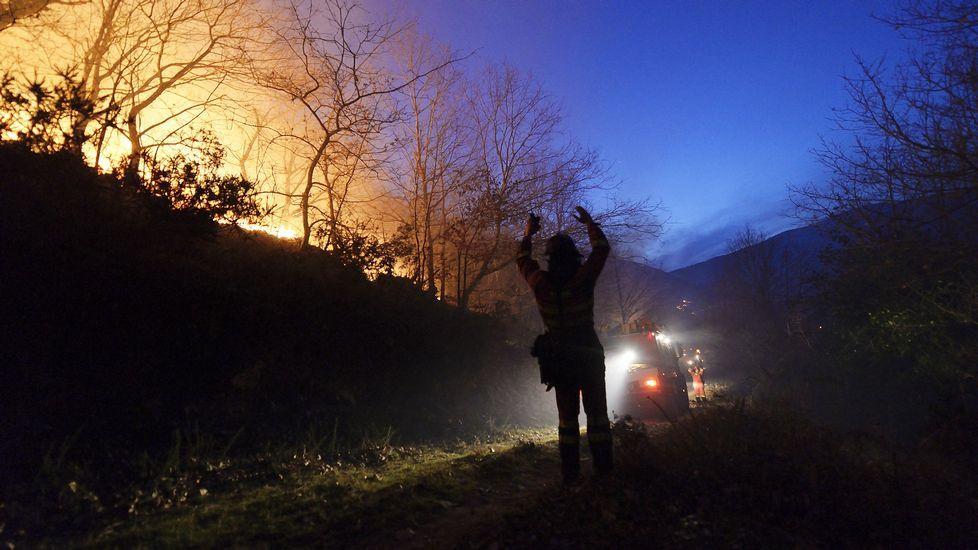 Alerta máxima en Cantabria con más de 80 incendios activos. En la imagen, fuego forestal en Barcena Mayor.