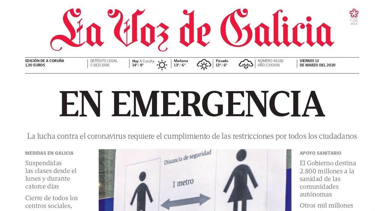 Restricciones (13 marzo). La Xunta actúa días después cerrando colegios y, al día siguiente, la hostelería. Por primera vez en la historia, las elecciones podrían suspenderse