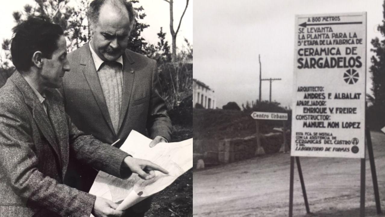 Isaac Díaz Pardo e Andres Fernández-Albalat consultan os planos para a Planta Circular. Un dos carteis que anunciaban as obras