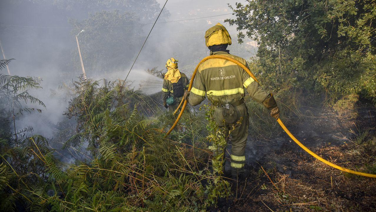Hidroavión repostando agua en la playa de Agrelo.Terrenos quemados en el incendio del pasado jueves en la parroquia de Mañente, en Pantón