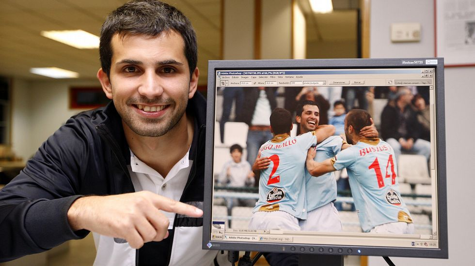 Los años celestes de Álex López.Álex López, jugador del Racing de Ferrol