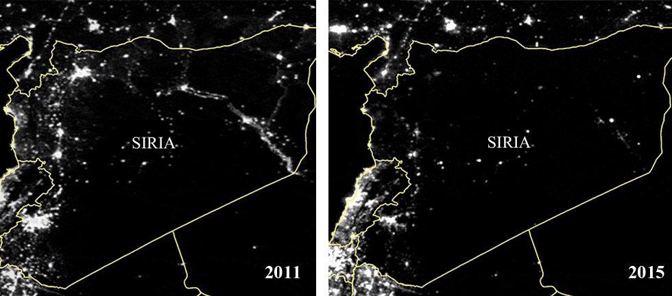 Evolución de las vistas nocturnas de Siria en los últimos años.Begoña lleva 5 años como voluntaria y domingo, que fue encargado del súper de El Corte Inglés, es el veterano en Vigo.
