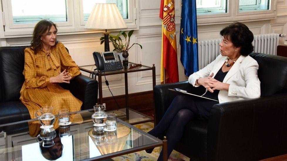 selectividad, pau.Carmen Pomar e Isabel Celaá, reunidas en Madrid