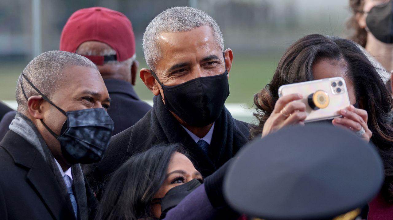 Llegada del expresidente Barack Obana y su mujer Michelle Obama