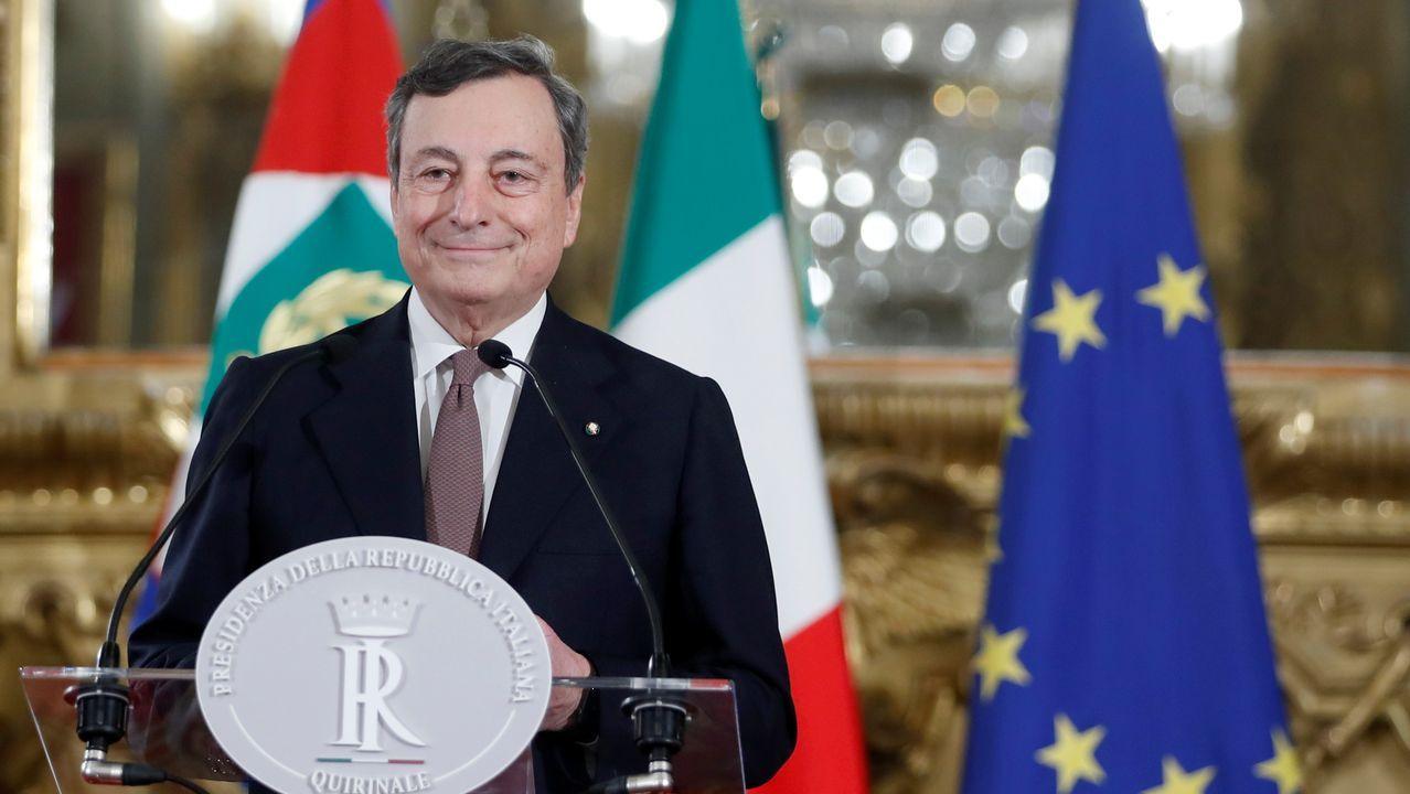 Mario Draghi, en rueda de presna tras su reunión con el presidente Mattarella