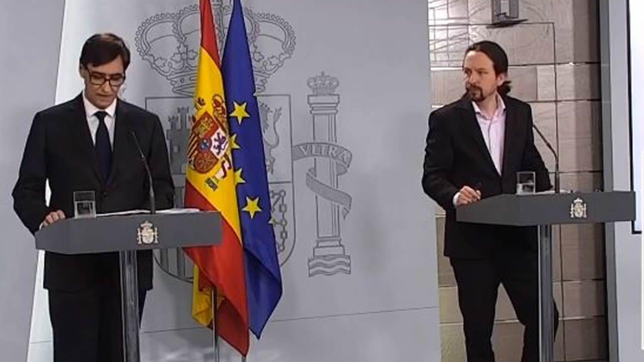 Comparecencia de Salvador Illa y Pablo Iglesias por el coronavirus.Instalaciones de Arcelor en Avilés