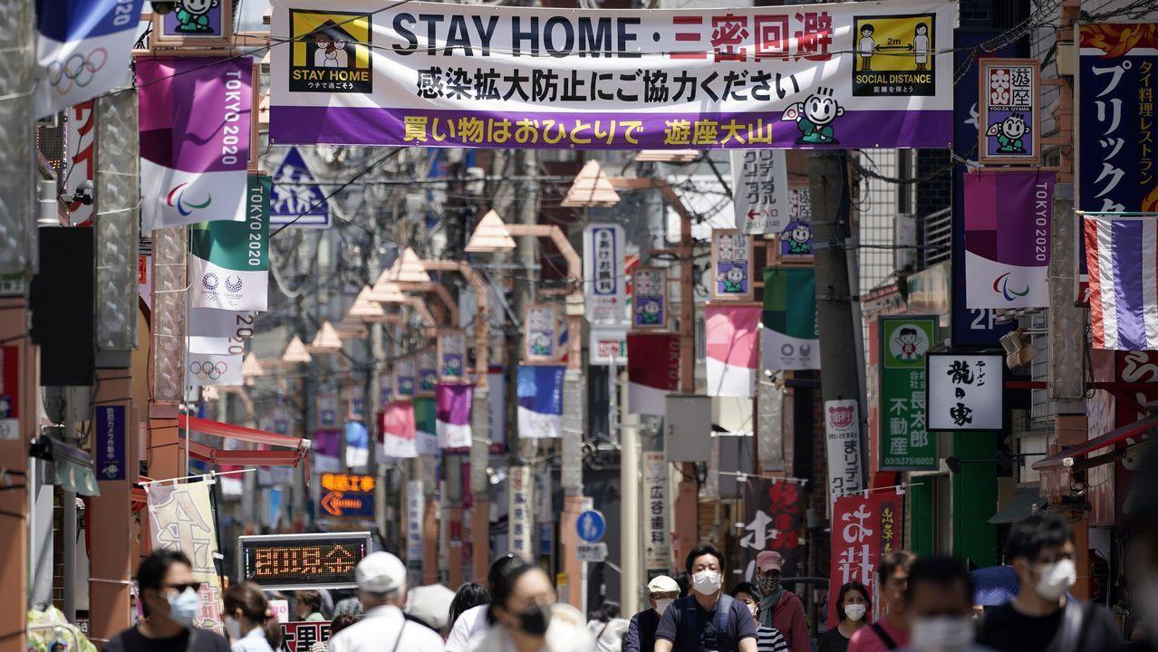 En Tokio, una pancarta llama a las personas a quedarse en casa