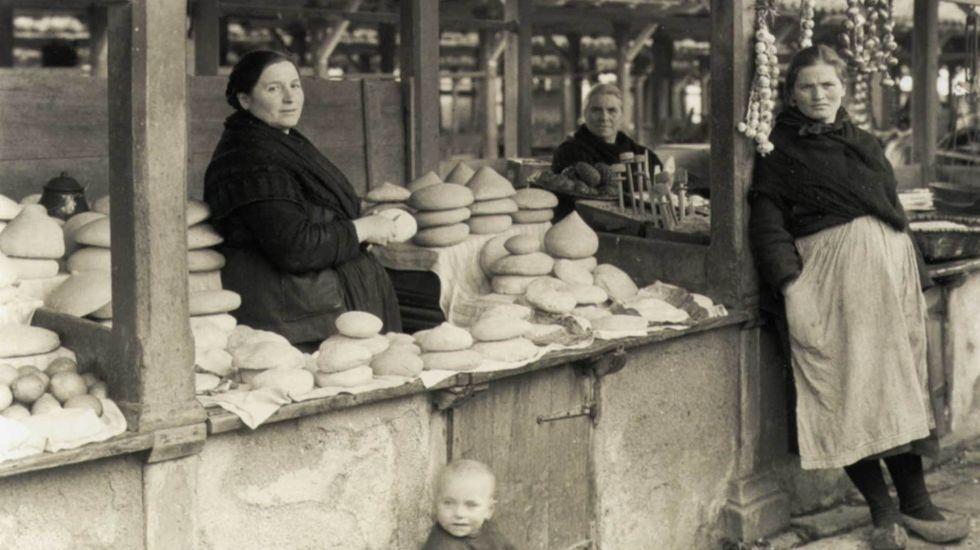 Feria de quesos en la Galicia de principios del siglo XX