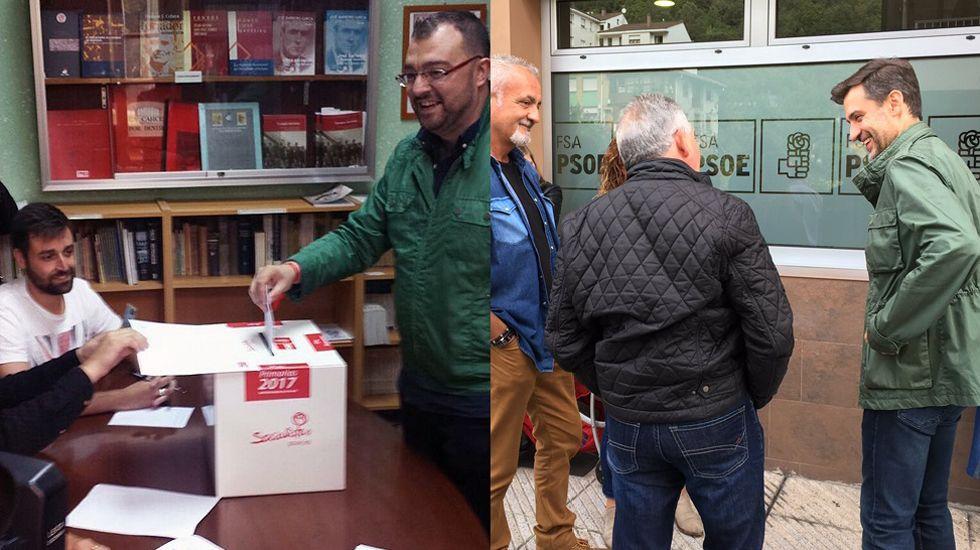 Felicitaciones en el perfil de Adrián Barbón.A la izquierda, Adrián Barbón vota en Laviana, mientras que a la derecha José María Pérez charla con unos militantes en San Martín