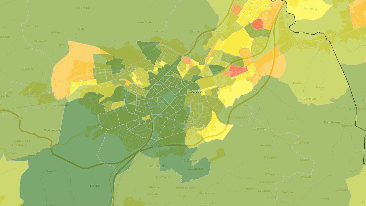 Atlas de Distribución de Renta de los Hogares (ADRH) en el área de Oviedo