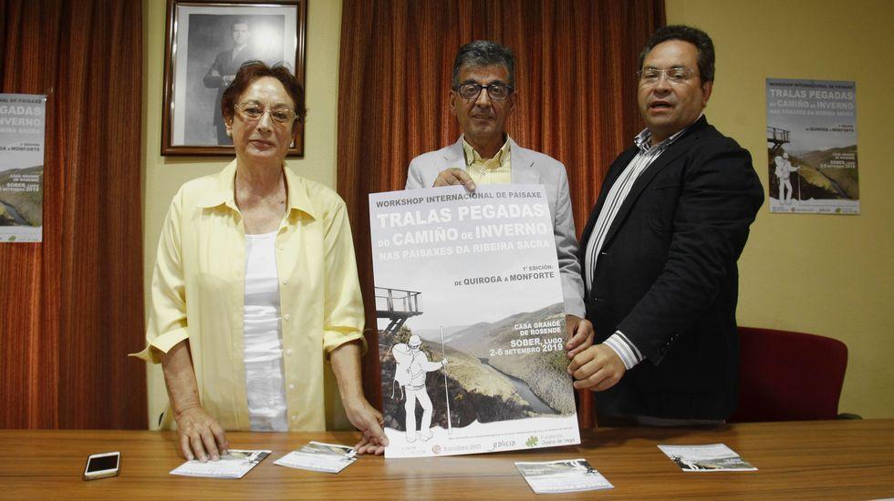 Isabel Aguirre, Luis Fernández Guitián y Mario Crecente, este lunes en Sober en la presentación del seminario