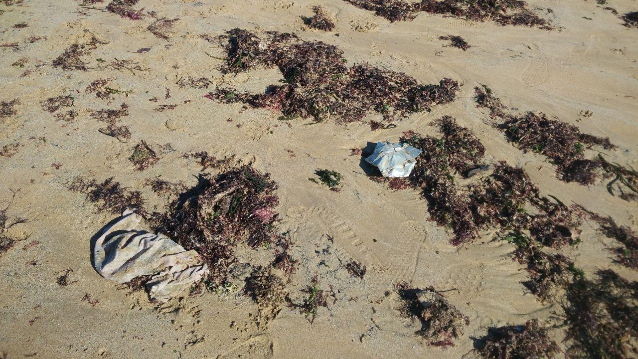 Basura arrastrada por la marea a la playa de San Lorenzo de Gijón.Bolsas de plástico