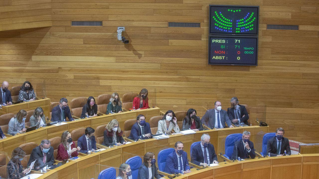Pleno del parlamento con el resultado de la votación en la pantalla.