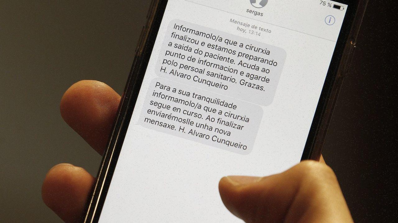 Mensaje que el Sergas envía a un usario por SMS.