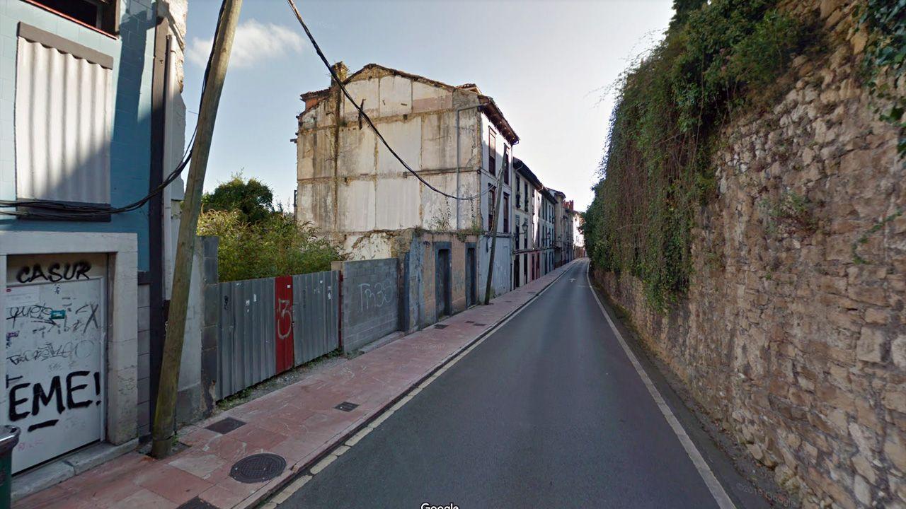 jardin.A la izquierda, parcelas de la calle Paraíso a la venta, junto a la antigua fábrica de gas de Oviedo