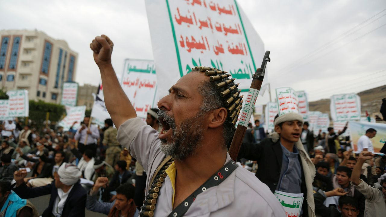 Protesta contra Israel y en apoyo del pueblo palestino en Sanaa (Yemen)
